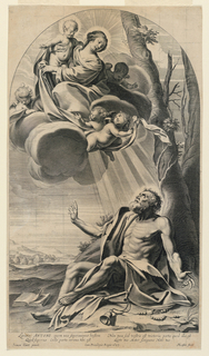 "The Virgin and Child, upper left, in the clouds, with four putti. Below, under a tree, Saint Anthony looks up at them. A book lies open, to his right. Below, the inscription: ""Sactore ANTONI quem nos superanimus hostem / Quod superas Coelo parta corna tibi est / Non mea sed vestia est victoria parta quod illa est / Lacte tuo Mater Sanguine Nate tuo"". The artists' names below, and date."