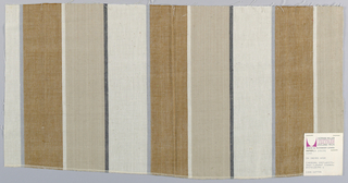 Plain weave with wide vertical stripes of tan, off-white, and beige with narrow stripes of gray, black and off-white.