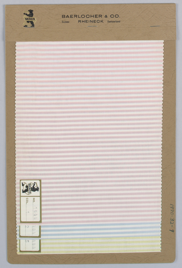 Three samples with horizontal stripes in pink, light blue and yellow. Bound in paper with acetate cover.