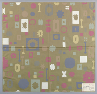 Tan plain weave printed with geometric and floral motifs in white, pink, blue-grey, light green, light brown, grey and light yellow. Number 645.