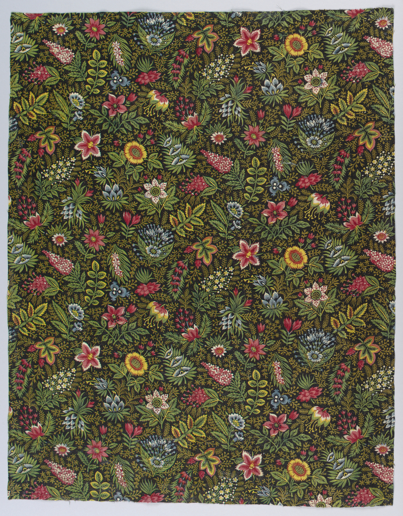 Fragment of printed cotton with a small-scale over-all design of  brightly colored flowers and fine leaf sprigs on a dark brown background. Printed in several shades of greens, blues, reds and yellow, with reserved white.
