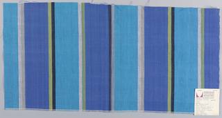 Plain weave in wide vertical stripes of turquoise and blue with pairs of narrow stripes in white and beige, yellow and black, white and green, and black and gray.