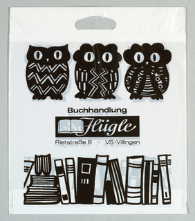 """Buchhandlung/Flügle/Rietstrasse 8 VS - Villingen"" . Stylized owls in black and white."