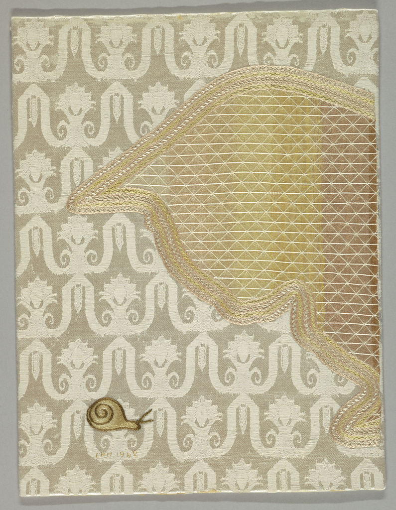 Profile of cat head in light yellow and beige silks peering at snail in brown and tan silks; embroidered on ivory silk ground woven in patterned ground.