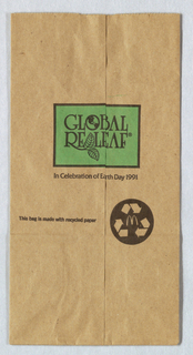 Recto: McDonald's Global Re-Leaf/ In celebration of Earth Day, 1991; dark brown and green on natural paper. Verso: Let's Get Growing America, with trademarked logo between Let's and Get.