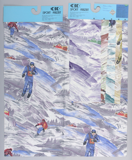 Sample card with colorways. Design of skiers in the snow.