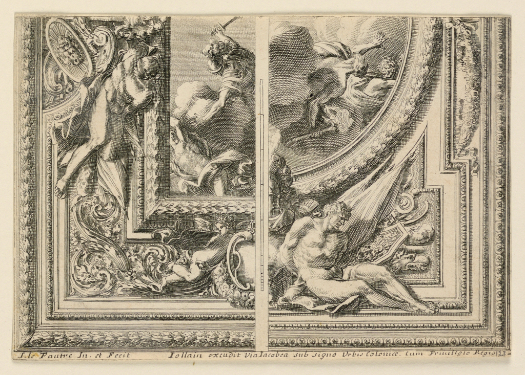 Two quarters are shown separated by a stripe with the scale. At left: oblong central representation with Mars chasing a giant. At right: circular central representation with two fleeing giants. Captives and trophies of arms occur in either design. Reverse: Men at a ball game; a watcher sits sidewise on a bench. A house in the central distance.
