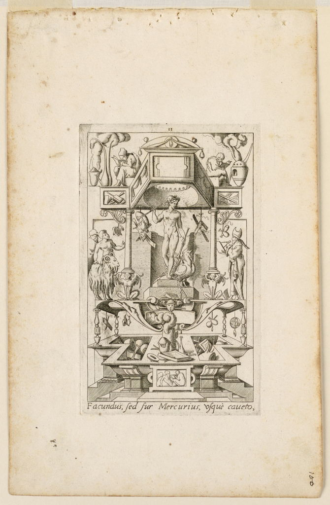 """Print, Grotesque with Deities. Plate 13 """"Mercury,"""" 2nd state"""