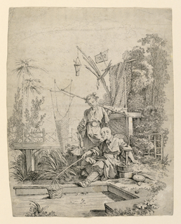 Two figures nearby a man-made fishing pool. A man, seated, dips a net into the water, while a woman, standing behind him, holds a basket with fish. Nets drape behind them, and foliage surrounds.