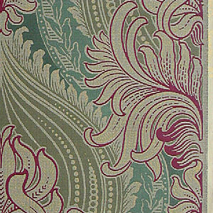 "Designed to give the effect of tapestry in a conventionalized pattern of a stiff, upright chrysanthemum of green petals outlined in red and flecked with gold dots flanked by sprays of leaves in same coloring. An artichoke in olive green is at the back. It is a symmetrical design. Stamped over all is a fine wire mesh design. Printed on selvedge: ""752-Imperial Wall-Paper Co., Sandy Hill, N.J."""