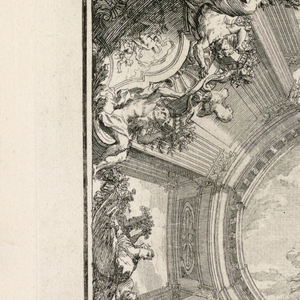 Trompe l'oeil painted ceiling of winged figures flying in the sky, more figures on clouds, one blowing wind; other figures seen in niches between columns around painted sky.