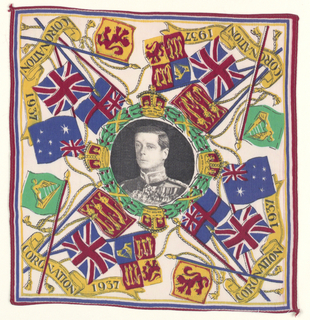"Handkerchief printed in anticipation of the Coronation of King Edward VIII of England.  Central medallion, framed with laurel wreath and four crowns, with a portrait of the monarch. In each corner four flags with the words ""Coronation 1937"". White ground printed in brilliant polychrome."