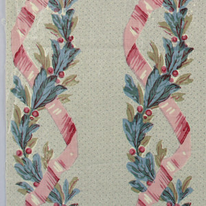 Columns made up of pink ribbon intertwined with leafy garland, on grey stippled ground.
