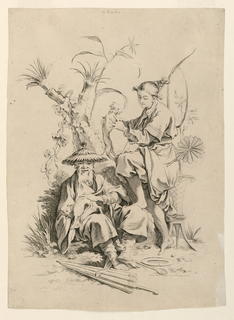Two allegorical figures representing the sense of touch. One seated, elderly man (left), and one standing, young woman (right). Each holds an animal (cat?), and at their feet lay a parasol, a spoon, and a platter.