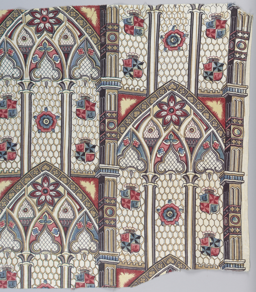Pattern is comprised of pointed stained glass windows and arches of a church in the Gothic style. Outline of leaded glass probably roller printed while the balance is block printed. Design shows arched windows in three sections with rosettes and blazons in brown, red, blue, yellow and black.