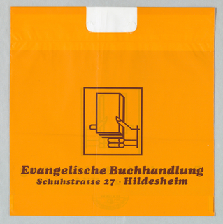 """Evangelische Buchhandlung/ Schuhstrasse 27 Hildsheim"".  Stylized hand holding book, framed, in maroon and orange."