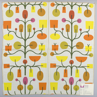 White plain weave printed with an abstract fruit tree motif in dark green, yellow, magenta, tan, orange, red and olive green. Number 1064.