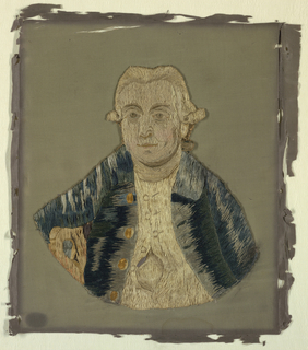 Portrait of King George III embroidered on linen, which was later appliqued to a silk ground fabric.