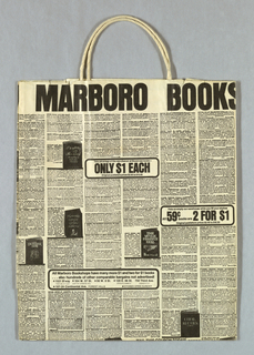 Bookshop name at top; overall reproduction of book ad in Sunday newspaper in black on ivory background. Design continues in side panels.