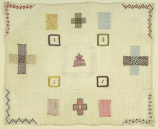 Four darning crosses, one with knitting, in the middle crowned monogram.  Four decorative  squares and each numeral of the date in a embroidered square.  Central patch was not removed and reinserted.