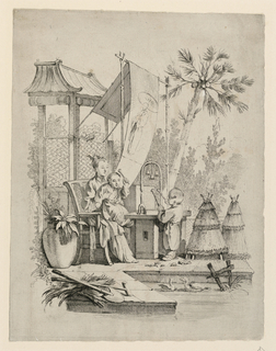 A seated woman holds a child on her lap beside a hanging banner with a figure on it, and before a pagoda-like structure. The child wields a mallet, with which he is posed to strike a set of bells before him. Another child stands opposite, also with mallets. The scene is outdoors, with foliage behind, and the group is before a low pool with birds in it.