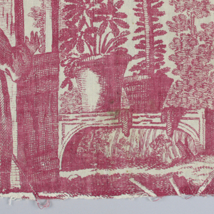 Fragment from a bedcover with four different chinoiserie-type scenes.
