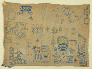 Isolated motifs and corner patterns.  Note: stitches make embroidery reversible.