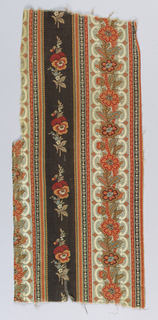 Two fragments sewn together. Design of stripes and floral motifs in red, orange, blue and brown on natural background.