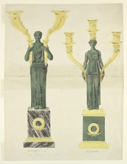 Intended to be executed in green and gilded bronze and marble. At left: A woman in classical attire stands upon a pedestal and carries in each arm a horn. A wreath is in front of the pedestal. At right:  a similar woman carries in each of the lowered hands a horn and upon the head a socket.