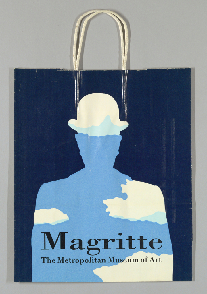 """Silhouette of man with bowler hat in white, light blue, and sky blue on dark blue background. On bottom: """"Magritte/The Metropolitan Museum of Art."""""""
