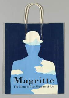 "Silhouette of man with bowler hat in white, light blue, and sky blue on dark blue background. On bottom: ""Magritte/The Metropolitan Museum of Art."""