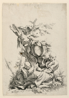 Allegorical scene depicting the sense of taste. Two figures are seated beneath a tree with a large fruit, out of which some segments have been cut. The lefthand figure eats a slice of the fruit, and the right figure points at him.