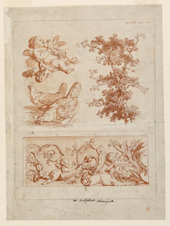 Cupid with dove on clouds. Two hens. tree. Left half of a frieze, with the bust of a girl as a central motif.