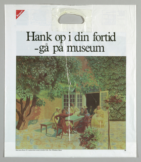 "Recto: ""H.C. Anderson laeser eventyr for damilien Collin"". Verso: Odensk, multicolor photomechanical reproduction of Niels Larsen Steven painting: ""Hank op I din fortid/-ga pa Museum"".  Photomechanical reproduction of articles and photos pertaining to Anderson & Anderson House."