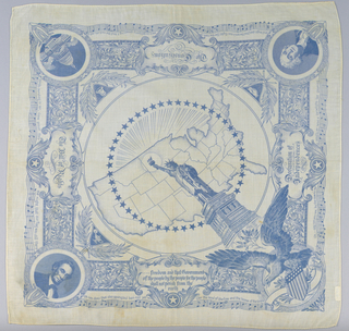 In center, the Statue of Liberty, a circle composed of small stars and a maps of the United States. In border, medallions at corners showing: George Washington; an eagle with a shield flag; portrait of Abraham Lincoln; and the Capitol Building, Washington, D.C. Printed in blue on white.