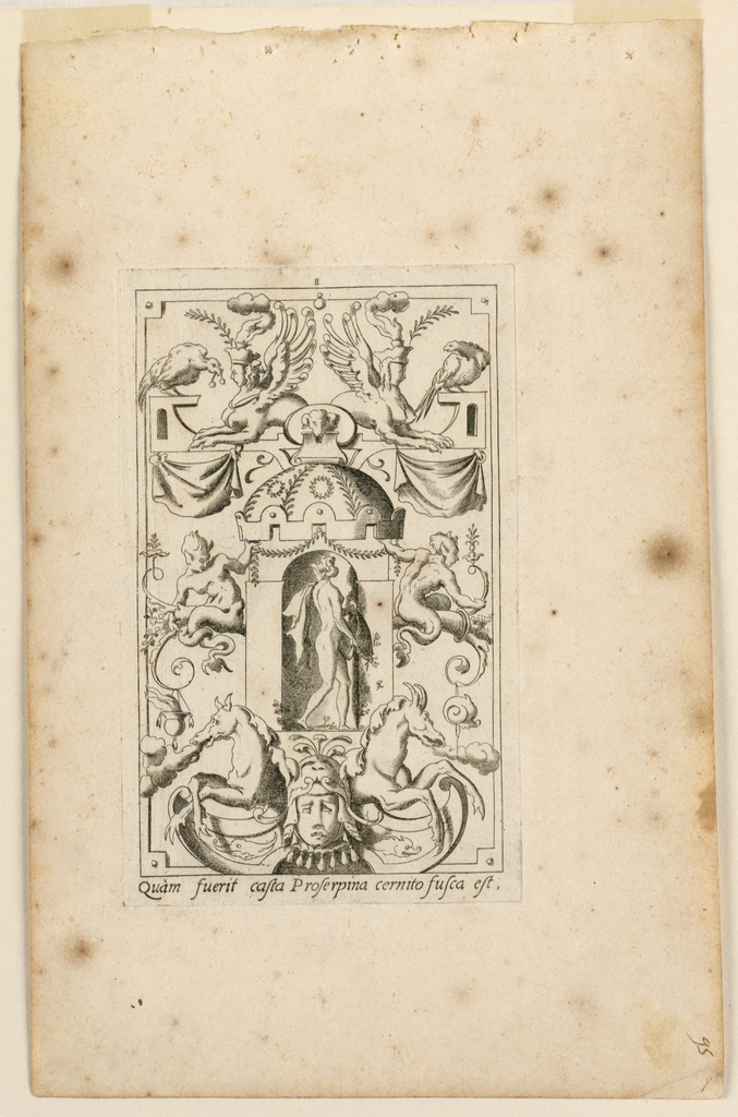 """Print, Grotesque with Deities. Plate 08 """"Proserpina,"""" 2nd state"""