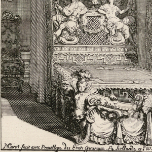 A lavish bed comprised of a large, high canopy enlivened by carved putti and ostrich feather plumes, a flying tester below, and a massive headboard carved with an urn flanked by male and female figures.  Footboard carved as drapery, a shell motif at center, and putti at corners.  Hanging mirrors and chairs on either side of bed and sunlight coming through window partially pictured at far right.