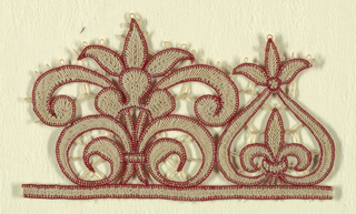 Red and white tab border with two motifs.
