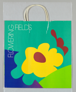 Store name and text in white type. Large yellow flower with red center in simplified style surrounded by turquoise, blue, lime green background.  Red design in shape of petals on right. Side panels: store name in script.
