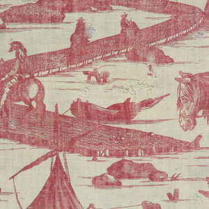 Fragment, cream white cotton printed in red, copper plate. Incomplete design: Castle or towered gate, village beyond. Approach by winding road over water; horsemen, herald with trumpet. Foreground part of group, cart drawn by horses. Other personages and groups.