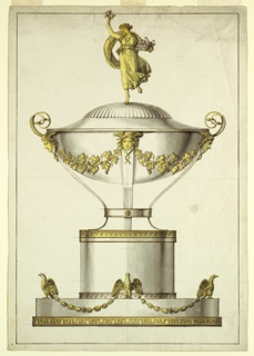 Vertical rectangle. Design for an ovoidal tureen intended to be produced in partly gilt silver. Below is an ovoidal base of two sections, the lower one showing a fret band with a Greek key motif. Four standing displayed eagles carrying festoons are intended upon the upper section, three are depicted. A cylindrical pedestal rises in the middle. Upon it stands upon four curved legs the bowl, described with nine festoons hanging from Medusa masks at the upper ends of the legs. Pairs of snakes rise from the lateral masks, serving as handles. The upper part of the cover is shaped as a shell. Upon it stands a running girl with a flower basket in her left arm, raising a bunch of flowers with her right hand. Framing line.