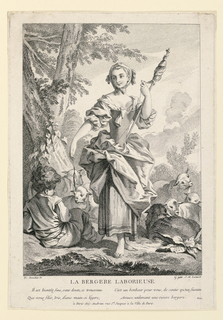 A barefooted young girl, a shepherdess, stands in flock of sheep spinning. In her right hand she holds a distaff, and in her left, a spindle. Beside her sits a small boy near a tree.