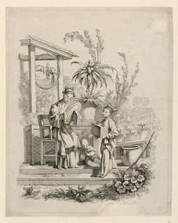Two feminine, robed figures face one another in an outdoor scene, with a smaller, reclining figure between them. Left figure (seated) holds a mirror, and right figure (standing), a basket. Scene is composed of landscape and architectural elements, potted plans, and a hanging bar, on which two birds are seated.