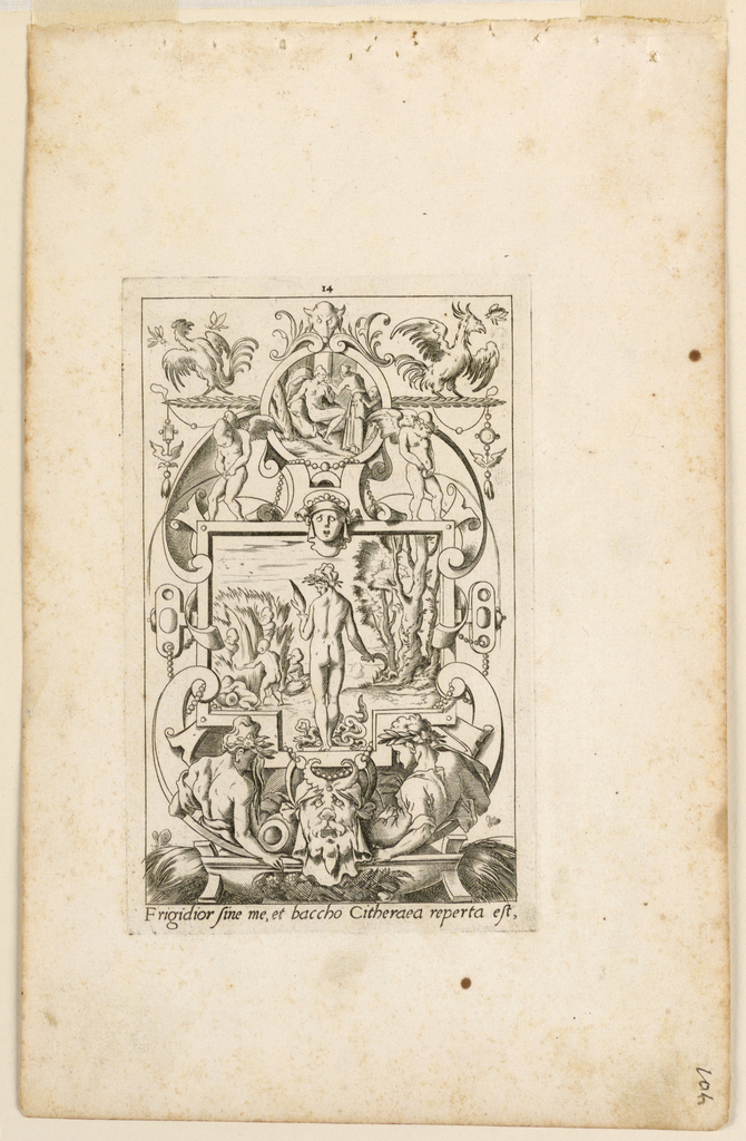 """Print, Grotesque with Deities. Plate 14 """"Ceres,"""" 2nd state"""