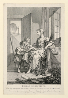 A young barefooted girl is seen in a simple domestic interior, seated, instructing two standing children who peer at an open book, resting against her knee. A cat lies in the foreground.