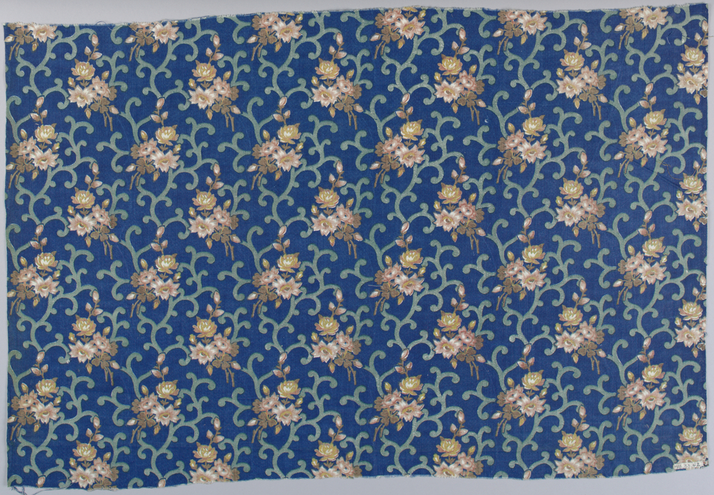 Flower sprays in brown and pink with green scrolling lines on a dark blue ground.