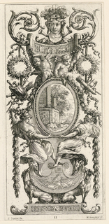 Grotesque panel with oval medallion held by four figures as centerpieces surmounted by female head flanked by floral scrolls. Grotesque design composed of wreath and floral scroll motifs.