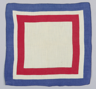 "Three square handkerchiefs, souvenirs from World War II: a. Central medallion on white field with ""V for VICTORY,"" red and blue     borders. b. Blue square in center, guard stripe with white wings on red     background, wide border with white airplanes on red background;     outer narrow blue border. c. Plain white field, red and blue borders."
