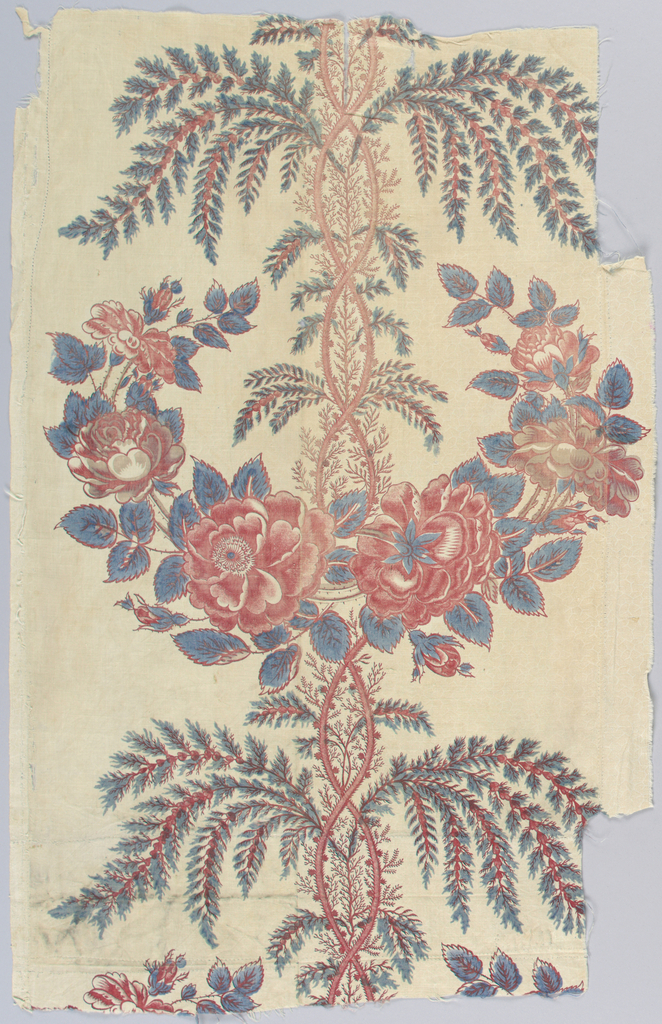 On white ground, vertical pattern of large swag of roses centered on rising serpentine of tendrils, from which spring sprays of small leaves. Roses, tendrils, and all outlines delicately printed in red, probably by copper-plate, with green and blue leaves carelessly overprinted by block. Left selvage present.