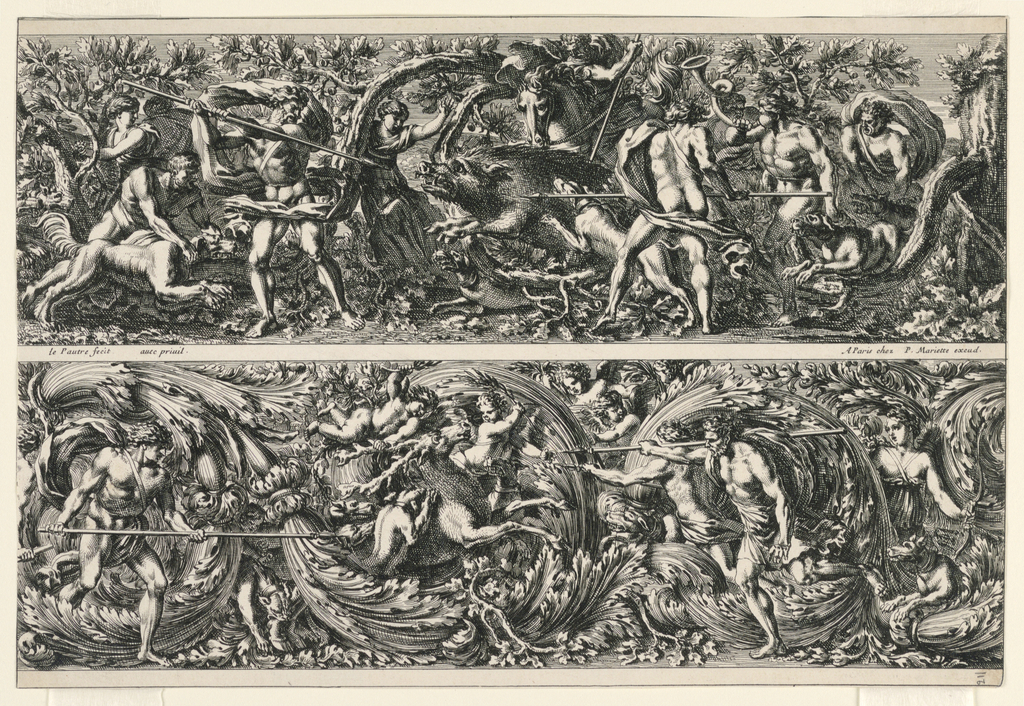 Two registers depict classical figures in hunting scenes; above, figures hunt a wild boar; below, they hunt a stag. In both, there are men with spears, dogs, trees, and sense of agitated movement throughout.